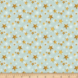 Wilmington Friendly Gathering Stars Teal Fabric
