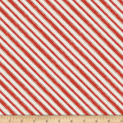 Wilmington Friendly Gathering Diagonal Stripe Taupe/Red Fabric