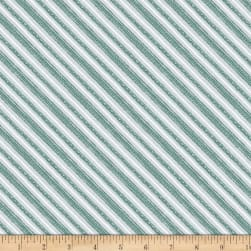 Wilmington Friendly Gathering Diagonal Stripe Gray/Teal Fabric