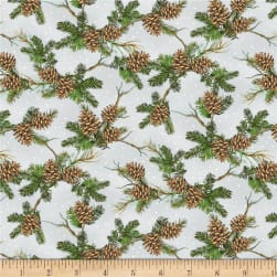 Wilmington Royal Red Pinecones Gray Fabric