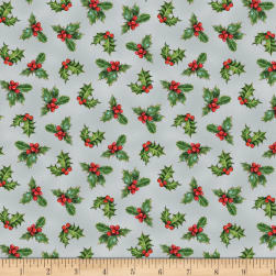 Wilmington Royal Red Holly Gray Fabric
