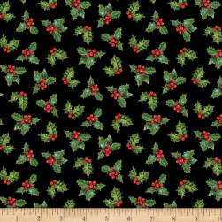 Wilmington Royal Red Holly Black Fabric