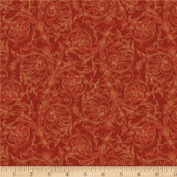 Wilmington Royal Red Scroll Red Fabric
