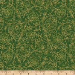 Wilmington Royal Red Scroll Green Fabric