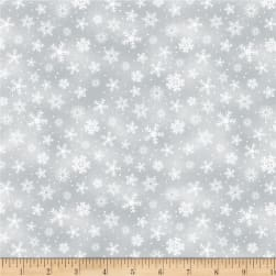 Wilmington Royal Red Snowflakes Gray Fabric