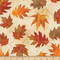 Wilmington Amber Reflections Leaves Allover Ivory Fabric