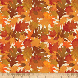Wilmington Amber Reflections Packed Leaves Ivory Fabric