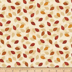 Wilmington Amber Reflections Small Leaf Toss Ivory Fabric