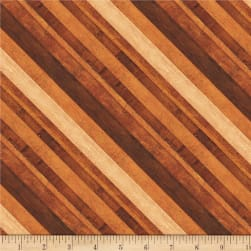 Wilmington Amber Reflections Diagonal Stripe Brown Fabric