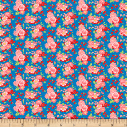 Wilmington Amorette Roses Blue/Pink Fabric
