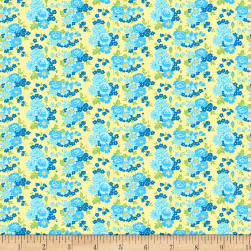Wilmington Amorette Roses Yellow/Blue Fabric