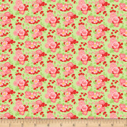 Wilmington Amorette Roses Green/Pink Fabric