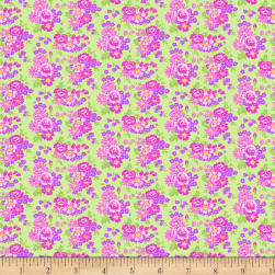 Wilmington Amorette Roses Green/Purple Fabric