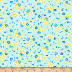 Wilmington Amorette Posies Teal Fabric