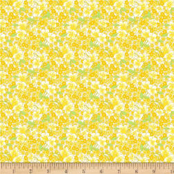 Wilmington Amorette Packed Floral Yellow Fabric