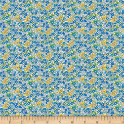 Wilmington Amorette Tiny Garden Blue Fabric