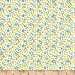 Wilmington Amorette Wildflowers Blue/Yellow Fabric
