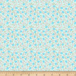 Wilmington Amorette Leaves and Flowers Teal Fabric