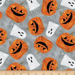 Wilmington Spooky Vibes Pumpkins and Ghosts Gray Fabric