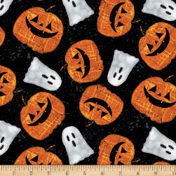 Wilmington Spooky Vibes Pumpkins and Ghosts Black Fabric