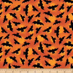 Wilmington Spooky Vibes Bats Allover Orange Fabric