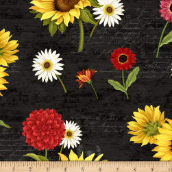 Wilmington Sunset Blooms Flowers Allover Light Black Fabric