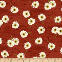 Wilmington Sunset Blooms Daisies Red Fabric