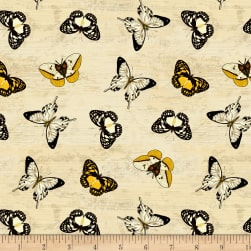 Wilmington Sunset Blooms Butterflies Allover Tan Fabric