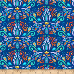 Wilmington Arctic Wonderland Damask Navy Fabric
