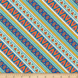 Wilmington Arctic Wonderland Diagonal Stripe Blue/Red Fabric
