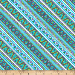 Wilmington Arctic Wonderland Diagonal Stripe Gray/Teal Fabric