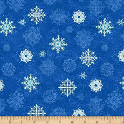 Wilmington Arctic Wonderland Snowflake Toss Dark Blue Fabric