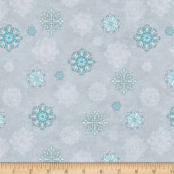 Wilmington Arctic Wonderland Snowflake Toss Light Gray Fabric