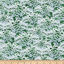 Wilmington Bringing Home Christmas Snowy Branches Green Fabric