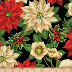 Wilmington Holiday Lane Large Floral Black Fabric