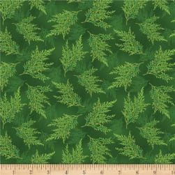 Wilmington Holiday Lane Ferns Green Fabric