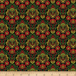 Wilmington Holiday Lane Damask Black Fabric