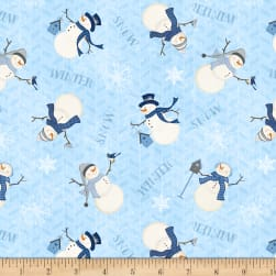 Wilmington Welcome Winter! Tossed Snowmen Blue Fabric