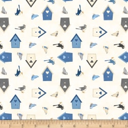 Wilmington Welcome Winter! Birds and Birdhouses Ivory Fabric