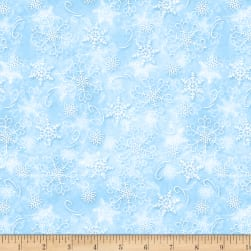 Wilmington Welcome Winter! Snowflakes Light Blue Fabric