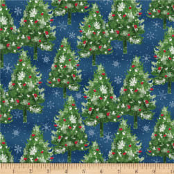 Wilmington Under The Pines Pine Trees Blue Fabric