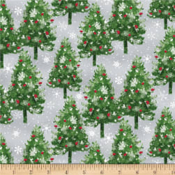 Wilmington Under The Pines Pine Trees Gray Fabric