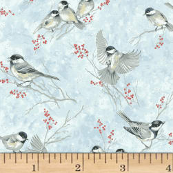 Hoffman Baby It's Cold Outside Birds Ice Metallic