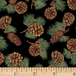 Hoffman Cardinal Carols Pinecones Metallic Black/Gold Fabric