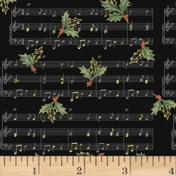 Hoffman Cardinal Carols Sheet Music Metallic Black/Gold Fabric