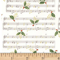 Hoffman Cardinal Carols Sheet Music Metallic Natural/Gold Fabric