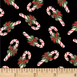 Hoffman Cardinal Carols Candy Canes Metallic Black/Gold Fabric