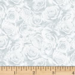 Hoffman Cardinal Carols Packed Roses Metallic Frost/Silver Fabric