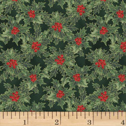 Hoffman Cardinal Carols Holly Metallic Hunter/Gold Fabric