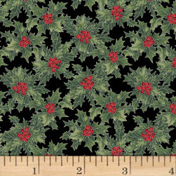 Hoffman Cardinal Carols Holly Metallic Onyx/Silver Fabric